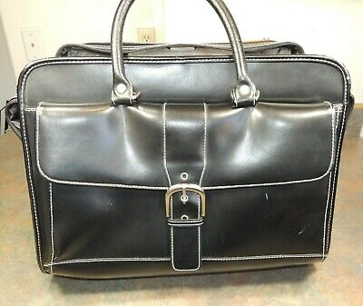 Franklin Covey Carry On Travel Bag Rolling Wheels Black Leather Laptop Suitcase • 28.60£