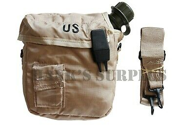 $ CDN23.72 • Buy US Military Army Collapsible Camping 2 QT Canteen & Cover Pouch Sling Tan