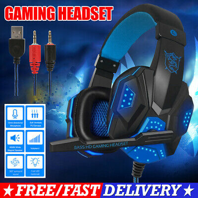 AU20.85 • Buy LED Gaming Headset Earphone PC Laptop For Mac PS4 Xbox With Mic USB Headphones