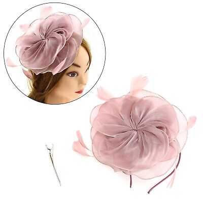 Pink Fascinator Hat Headband With Hair Clip Flower Feather Wedding Girls Women • 11.98£