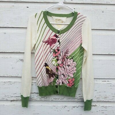 $ CDN27.77 • Buy Knitted Dove Anthropologie Womens Cardigan Sweater Size Small Green Birds FLAW