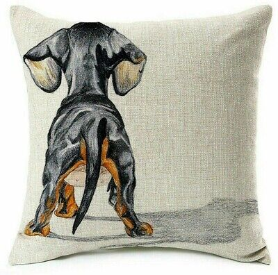 DACHSHUND Sausage DOG Art Doxie Painting LINEN COTTON CUSHION COVER, UK Sale! • 5.49£