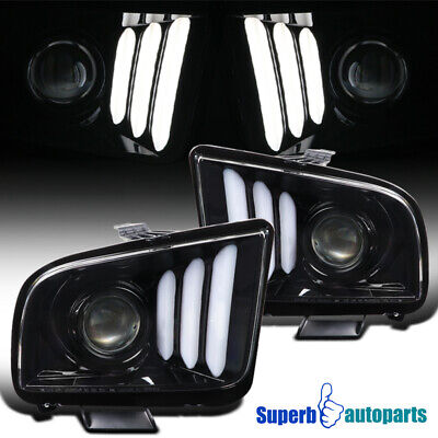 $305.98 • Buy For 2005-2009 Ford Mustang Polished Black LED Strips Projector Headlights