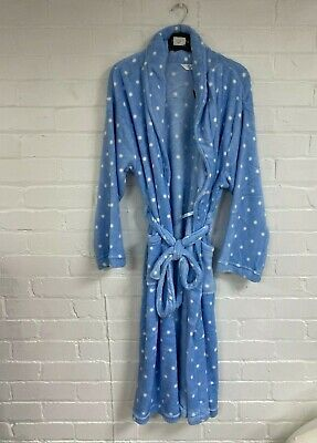 Ex Branded Ladies Blue Spotted Polka Dot Fleece Dressing Gown Size 12 - 18 (A17) • 12.50£