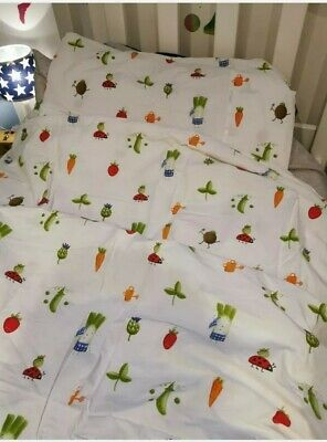 IKEA Childrens Single Duvet Cover And Pillowcase Ladybird And Vegetables Design • 10£