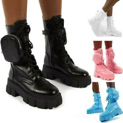 £24.88 • Buy Women Combat Ankle Boots Chunky Platform Flat Goth Punk Zip Pocket Lace Up Shoes