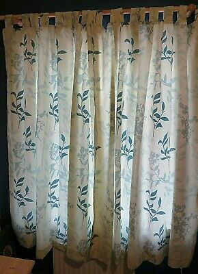 Next Teal  / Green Leaf Tab Top  Silhouette  Curtains 66 X 72 Inches Lined • 19.50£