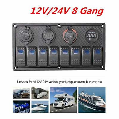 AU52.99 • Buy  Waterproof 8 Gang 12/24V Dual USB Switch Panel For Car Truck & Marine Boat