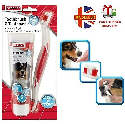 Dog Toothbrush And Toothpaste Kit Fresh Breath Removes Plaque Puppy Dental Care • 6.49£