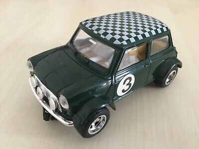 Scalextric C99 Mini Cooper Green, White Chequered Roof Used New Rear Tyres • 12.50£