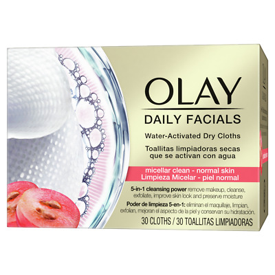 AU14.42 • Buy Olay Daily Facials Regular Dry Cloths - 5-in-1 Cleansing Power - Water Activated