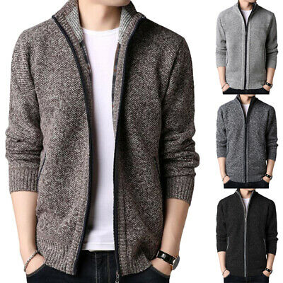 £16.52 • Buy Mens Knitted Zip Up Funnel Neck Jacket Coat Cardigan Sweater Solid Knitwear Tops