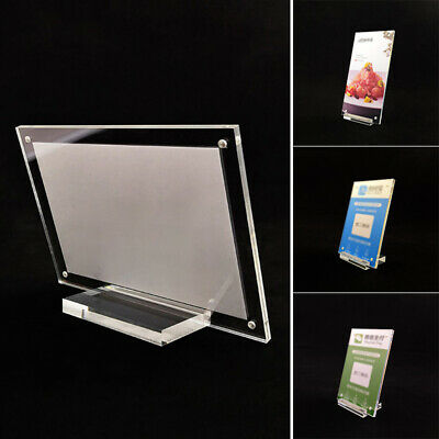 1pc Acrylic Sign Display Holder Price Name Card Label Stand Bar Cafe Shop • 7.75£