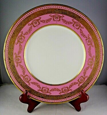 Mintons Antique Porcelain Gold Encrusted Cabinet Plate Pink Verge White Body • 69.99£