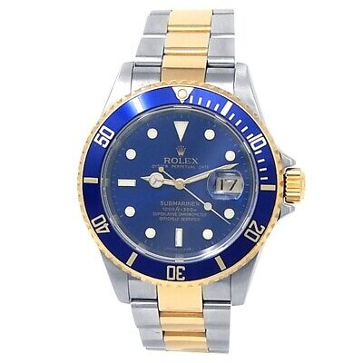 $ CDN13746.44 • Buy Rolex Submariner 18k Yellow Gold Steel Oyster Automatic Blue Men's Watch 16613