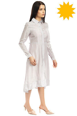 AU54.16 • Buy MAJE Satin Shirt Dress Size 1 / S Striped Dipped Hem Long Sleeve Regular Collar