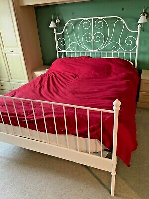 White Ikea Bed Frame With Slats - Standard King - Metal  • 10£