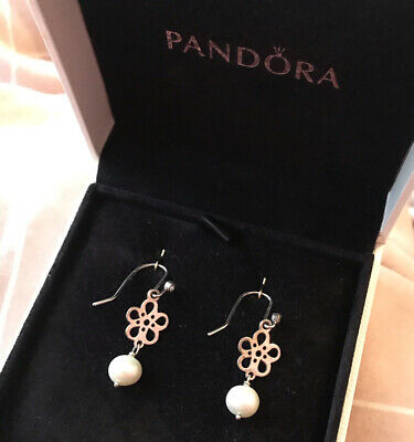 Genuine Retired Pandora Pearl And Flower Compose Earrings & CZ Compose Wires  • 60£