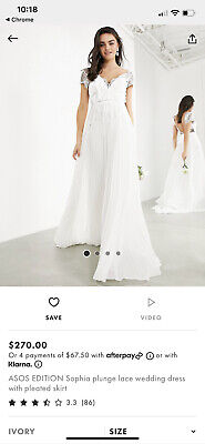 AU40 • Buy ASOS Plunge Lace Wedding Dress