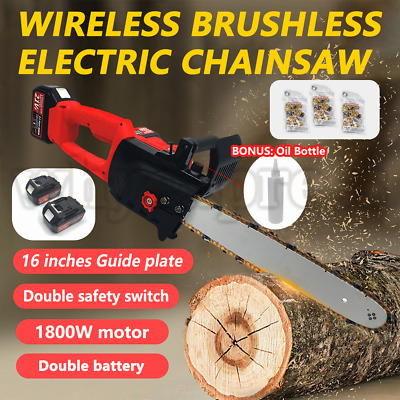 21V 16'' Electric Cordless Chainsaw Chain Saw Wood Cutting Tools 2 Battery UK • 169£