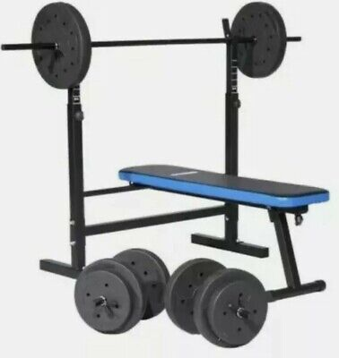 Pro Fitness Folding Workout Bench & 50kg Weights Plates Home Gym Exercise NEW  • 200£