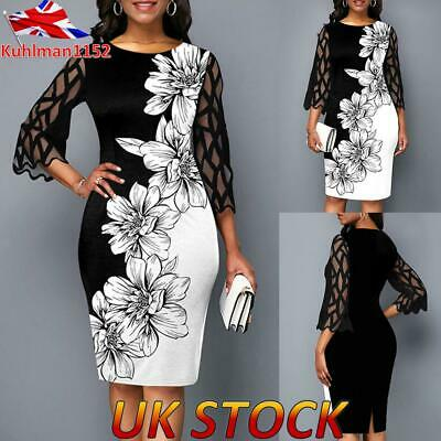 Women Ladies Mesh Panel Round Neck Floral Print Dress EveningParty Dresses UK • 13.09£