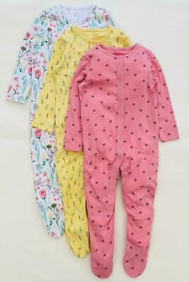 £8.95 • Buy Baby Girls F&F Sleepsuits Pink Yellow Floral Bumblebee 3 Pack Cotton Grip 9-12