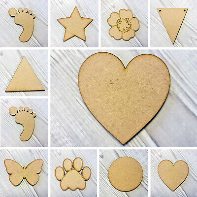 £1.49 • Buy Wooden MDF Shapes Hearts Stars Butterfly Bunting Craft Embellishments Decoration