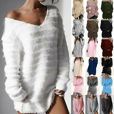 Women Off The Shoulder Jumper Sweater Top Casual Tunic Pullover Blouse Knitwear • 12.19£