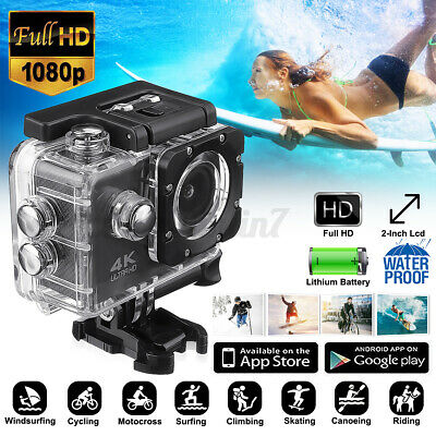Action Camera 4K 1080P WiFi Camcorder Waterproof DV Sports Cam Underwater Video • 22.89£