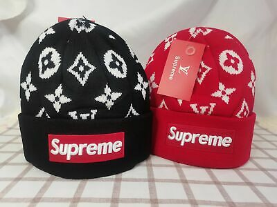 $ CDN34.11 • Buy Supreme Beanie Casual Style Indoor Outdoor Hat Black Red Unisex