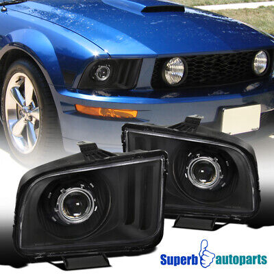 $148.98 • Buy For 2005-2009 Ford 05-09 Mustang Black Projector Headlights Head Lamps Set