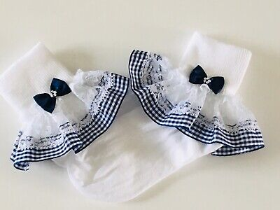 Handmade Navy Blue Gingham Frilly Socks Baby/girls School Summer • 3.25£