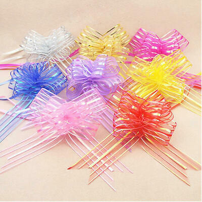 £3.99 • Buy 50mm Large Pom Pom Organza Butterfly Pull Bows Wedding Party Gift Decor Wrap UK