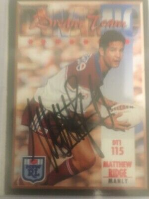 AU40 • Buy 1994 NSW Rugby League Series 2 Card No115 Hand Signed By Matthew Ridge Manly.