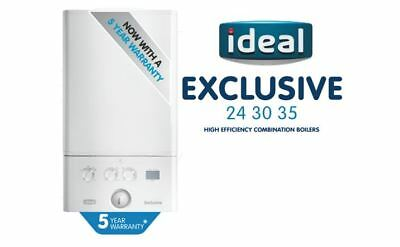 Ideal Logic Exclusive 30kW Combi Boiler With Flue & Clock - 5 YEAR WARRANTY • 615£