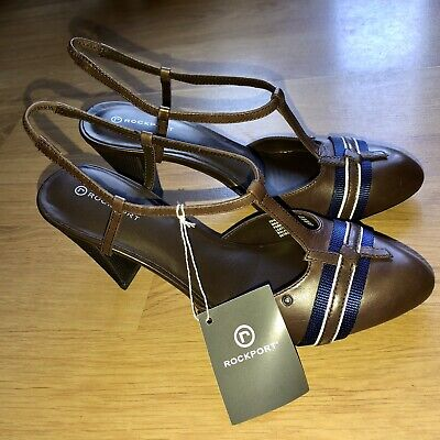 New Ladies Womens Cone High Heel Court Shoes Uk 6 Brown And Blue Rockport • 35£