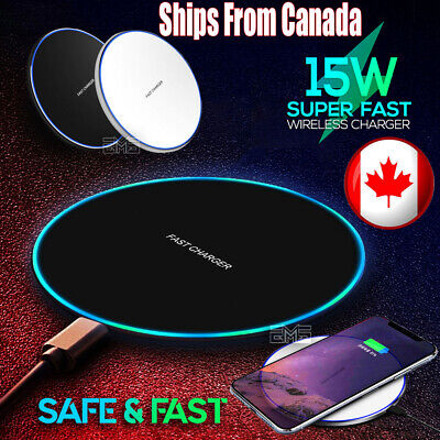 $ CDN9.45 • Buy Fast Wireless Phone Charger 15W Ultra Pad Mat For IPhone 11 12 X XR Samsung S20