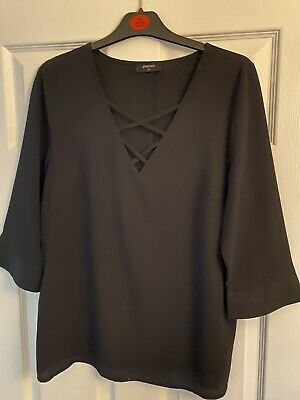 Ladies Matalan Black Blouse Size 12 • 2£