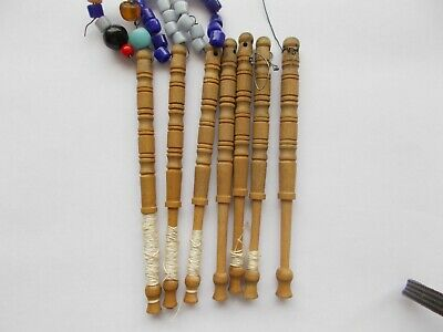 7 Vintage Lace Bobbins Lacemaking Some With Glass Beads  • 3£