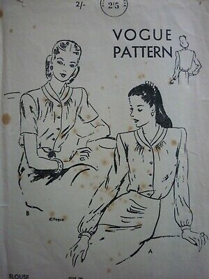 Vintage 1940's Vogue Ladies Blouses Sewing Dressmaking Pattern • 8.99£