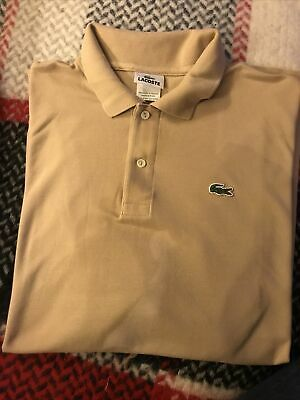 Men's Lacoste Polo Shirt Size 6 Xl Beige Short Sleeves • 12.50£