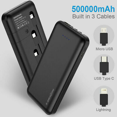 AU34.99 • Buy 500000mAh Power Bank Portable External Battery Built In 3 Cables For Cell Phone