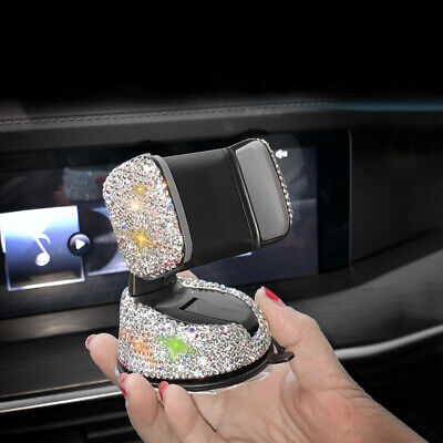 Auto Car Phone Holder Dashboard Stand Crystal Bling Girls Interior Accessories • 8.65£