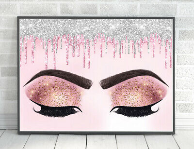 £5.49 • Buy Lashes Glitter PRINT Eyes Pink Makeup BEAUTY Bedroom PICTURE A4 Unframed Brows 1