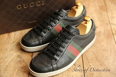 AU265.28 • Buy Men's Gucci Ace Perforated Black Leathrer Trainers Sneakers UK 7.5 US 8.5