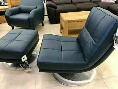 £699.99 • Buy Harveys Blue Leather Accent Chair And Foot Stool