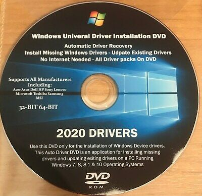 Drivers Pack Disc For Any Windows Computer Windows 10 8 7 Vista XP 32/64 Bit • 3.50£