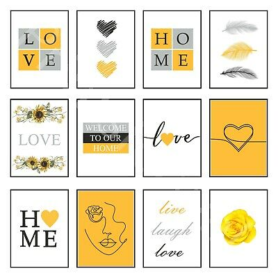 £3.95 • Buy Love Art Print Home Prints Posters Yellow Bedroom Wall Decor One Line Drawing