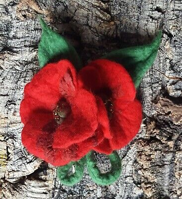 £16 • Buy Handmade Felted Wool Brooch/corsage/pin Wet Felting Poppies Flowers Red Green